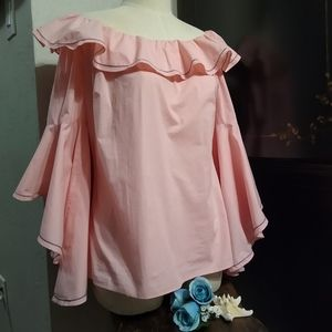 NWOT V Cristina Pink Ruffled Sleeve Blouse Small